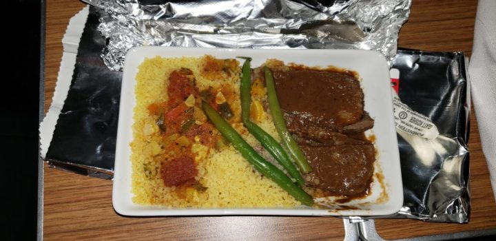 The braised beef short rib with couscous and vegetables. This was the entree for the American Airlines Kosher meal from PHL to LAS.