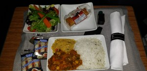 The American Airlines Muslim meal is presented on one tray.