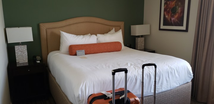 The Hotel Galvez PURE room is a basic hotel room. It is designed to be allergy free, and it features a rain shower.