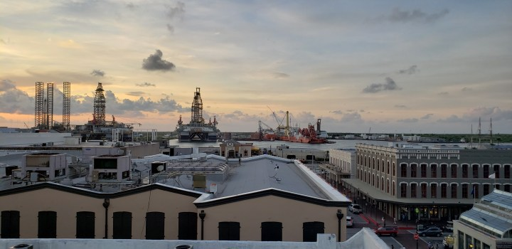 The Galveston ship channel seen from the Tremont Hotel. The Carnival 2021 schedule features sailings on 4 ships.