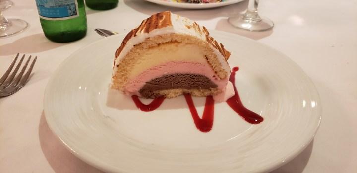 The second formal night offered Baked Alaska for dessert.