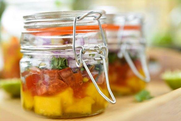 Mango Kachumbari Salsa in a jar