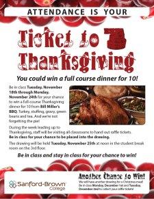 Thanksgiving Raffle Flyer | Sanford-Brown College