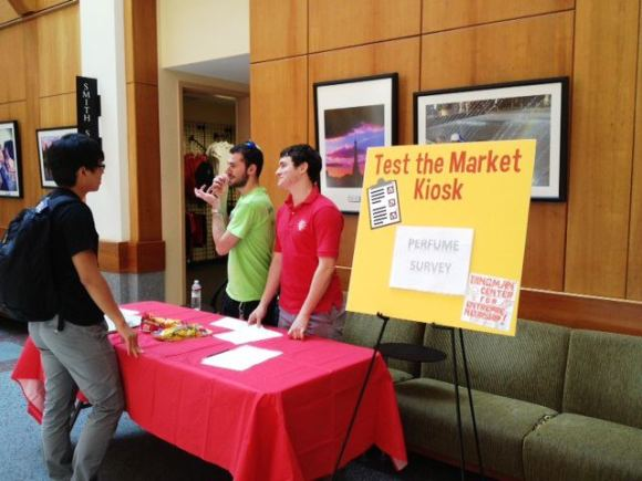 Sweet Buds team using the Test the Market Kiosk in Van Munching Hall