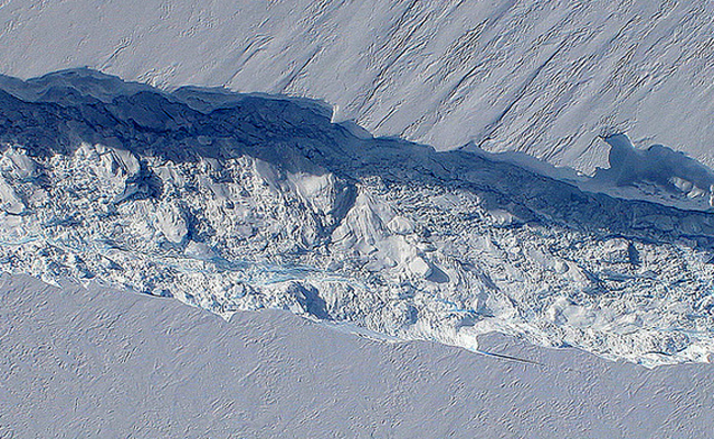 Image result for A huge glacier crack in the Antarctic ice shelf widens dramatically