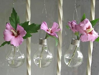 Recycled Light Bulb Hanging Vases