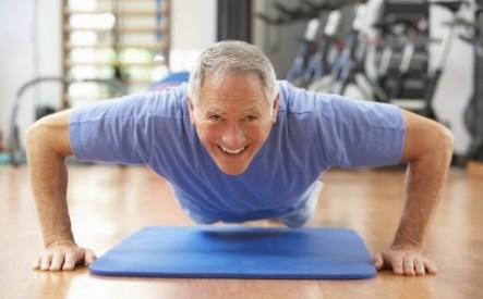 Older man doing pushup