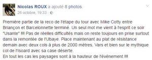 Retour de la reco de l'Etape du Tour par Nicolas Roux sur sa page FaceBook