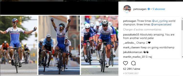 Peter Sagan - l'exemple type du coureur qui gère son effort quand il n'a pas d'équipe - Photo Instagram