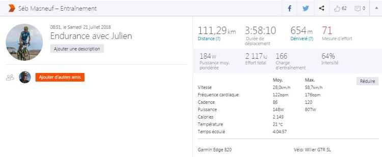 Dingue de vélo - sortie endurance - 122 BPM moyenne
