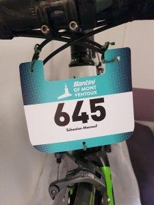 Dingue de vélo - mon dossard sur la Santini Ventoux 2018