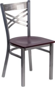 hercules series clear coated x back metal restaurant chair mahogany wood seat xu 6fob clr mahw gg 2 191x300 - Chairs