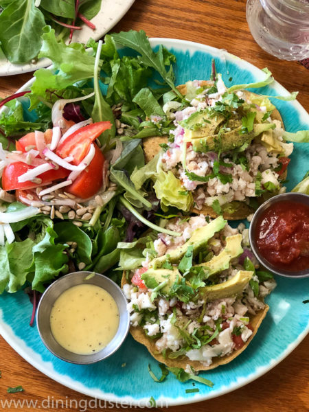 Of course, we could not resist the avocado toast. It included a smashed avocado on Positively 3rd Street bakery toast and top it off with alfalfa sprouts, cracked lemon pepper, flax seeds and olive oil.