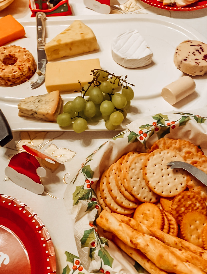 Christmas spread feautring cheese and crackers