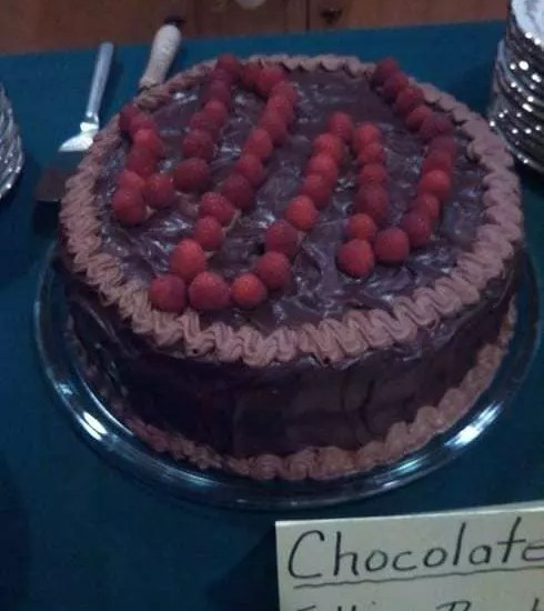 Chocolate-Raspberry cake at the Twelfth Night Dinner