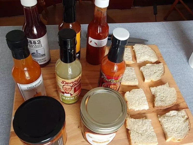 Winnipeg Hot Sauces set out for the taste test.