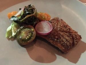 Striped bass, roasted garlic, bibb lettuce, purslane