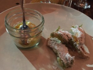 Squash blossom beignets with honey ricotta dipping sauce