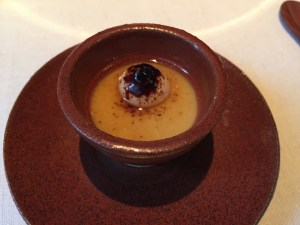 Set onion soup, liquorice and toasted almond with goat's cream