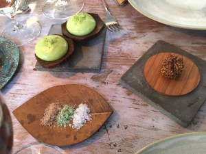 Salt variations and tarragon cream for beef