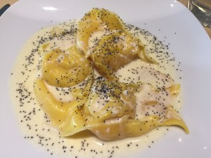 Ravioli with squash and sweet cheese