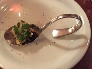 amuse bouche: pork neck salad with apples and mustard dressing