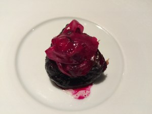 Fire in the sky beet: pressure cooked beet stuffed with bone marrow and hung over the fire several days