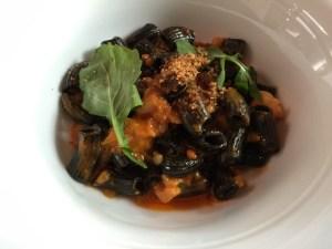 Squid ink mezze maniche, seppia, gulf shrimp, san marzano tomato and wild arugula