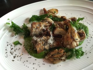 Nettle and mushroom cannelloni, nettle fonduta and piave cheese