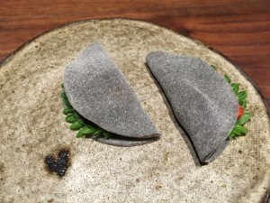Black sesme mochi strawberry, kumquat, shiso