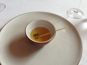 Tomato tea with lemon thyme