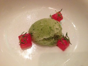 Pennyroyal sorbet with watermelon cubes with sugar and citric touch