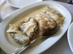 Stuffed cabbage leaves with rice and minced meat
