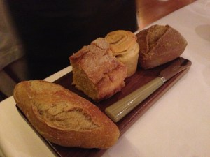 Bread selection: white, corn, olive and brown