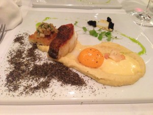 Seared cod fish with lupin (bean) puree and bearnaise foam