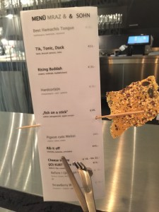 sesame cracker to eat while you look over the menu