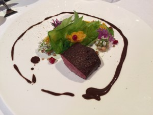 Venison with pointed cabbage, seabuckthorn, buckwheat, cranberries
