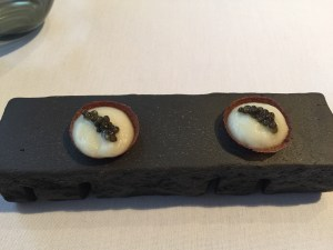 Chocolate shell with Jerusalem artichokes and caviar