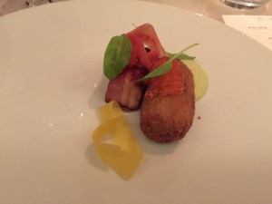 Crispy pork belly, trotter croquette, green apple butter, trout roe, sorrel