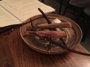 Salsify (big stalks) and chocolate dip