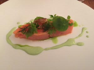 Salmon and fried shrimp tripe (heads)