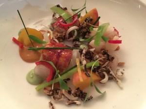 lobster, peach, daikon, coriander, wild rice with peanut sauce