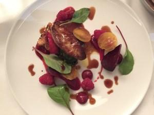 foie gras, beet, raspberries, swiss chard, ginger, brioche