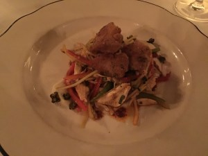 Veal sweetbreads with jumbo lump crab, celery root, mirltion slaw and remoulade vinaigrette
