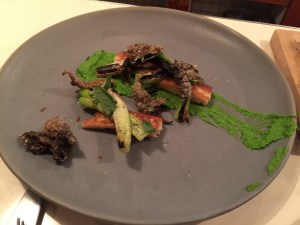 Eel with red scallion and basil