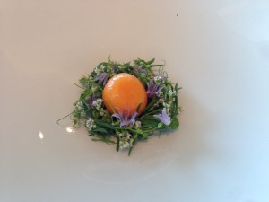 Smoked egg yolk and wild cress. Broth to be added