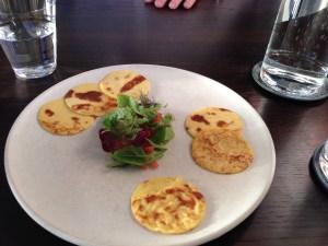Lumpfish roe, sour pancake, broken creme fraiche