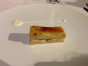 Mille-feville of smoked eel, foie-gras, spring onions and green apple (1995)