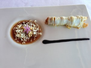 Cuttlefish Roller, rice krispies, mustard herbs
