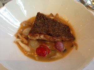 black bass crusted with nuts and seeds